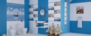 Баня с плочки синьо и бяло и морски мотиви