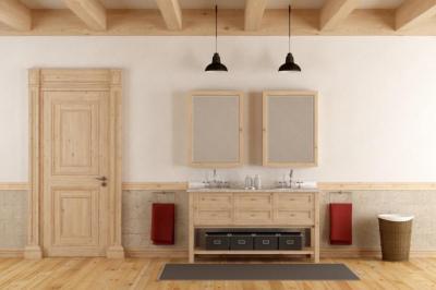 интериорна дървена врата, обзаведена стая